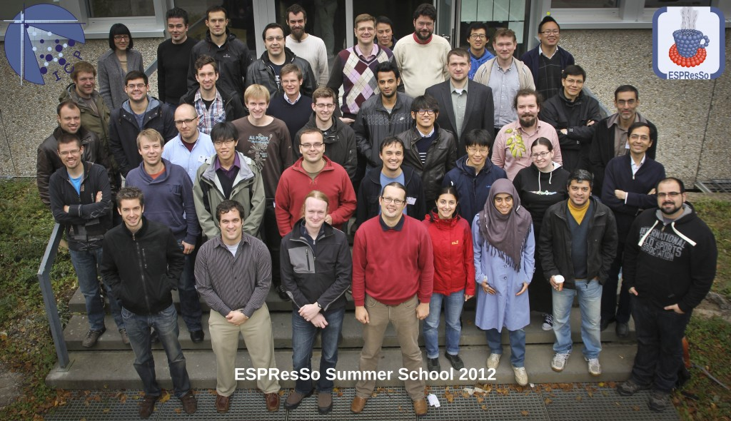 Participants of the ESPResSo Summer School 2012.