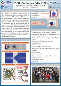 Poster of the ESPResSo Summer School 2013